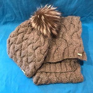 Coach Grey Scarf and Hat w/ Fur Poof Set